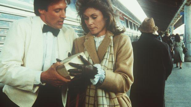 Der Agent Lee Stetson (Bruce Boxleitner, l.) überreicht der Hausfrau und Mutt...