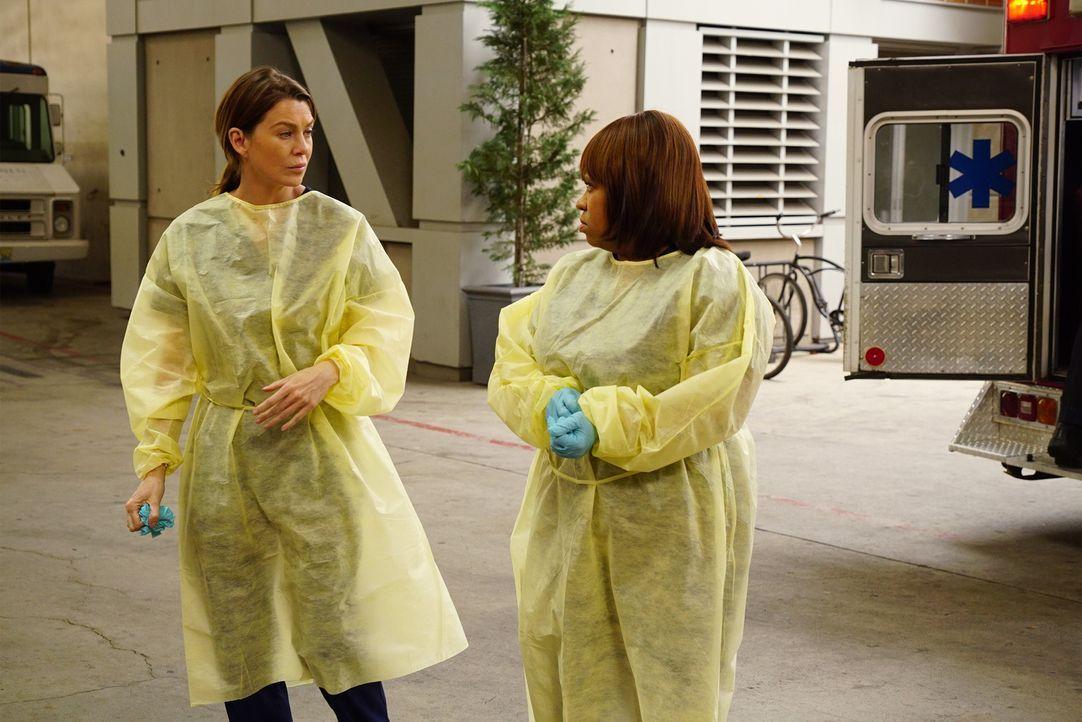 Kümmern sich um die Verletzten der Katastrophe: Meredith (Ellen Pompeo, l.) und Miranda (Chandra Wilson, r.) ... - Bildquelle: ABC Studios