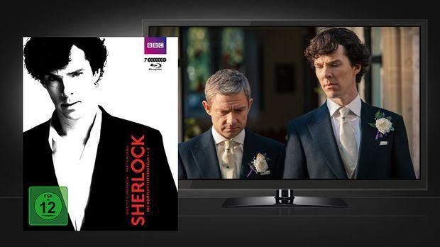 Sherlock Staffel 1-3 Blu-ray Cover und Szenenbild © BBC / Polyband