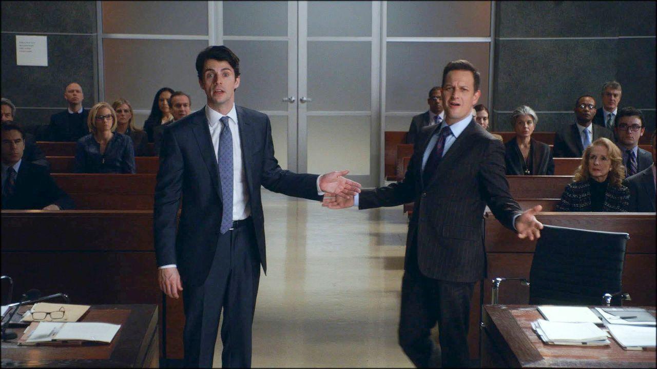 Der neue Staatsanwalt Finn Polmar (Matthew Goode, l.) stellt sich als starker Gegner für Will (Josh Charles, r.) heraus ... - Bildquelle: 2014 CBS Broadcasting, Inc. All Rights Reserved