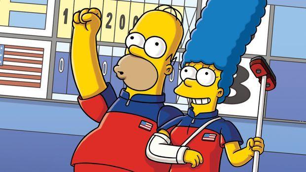 Haben die Sportart Curling für sich entdeckt: Homer (l.), Marge (r.) und Magg...