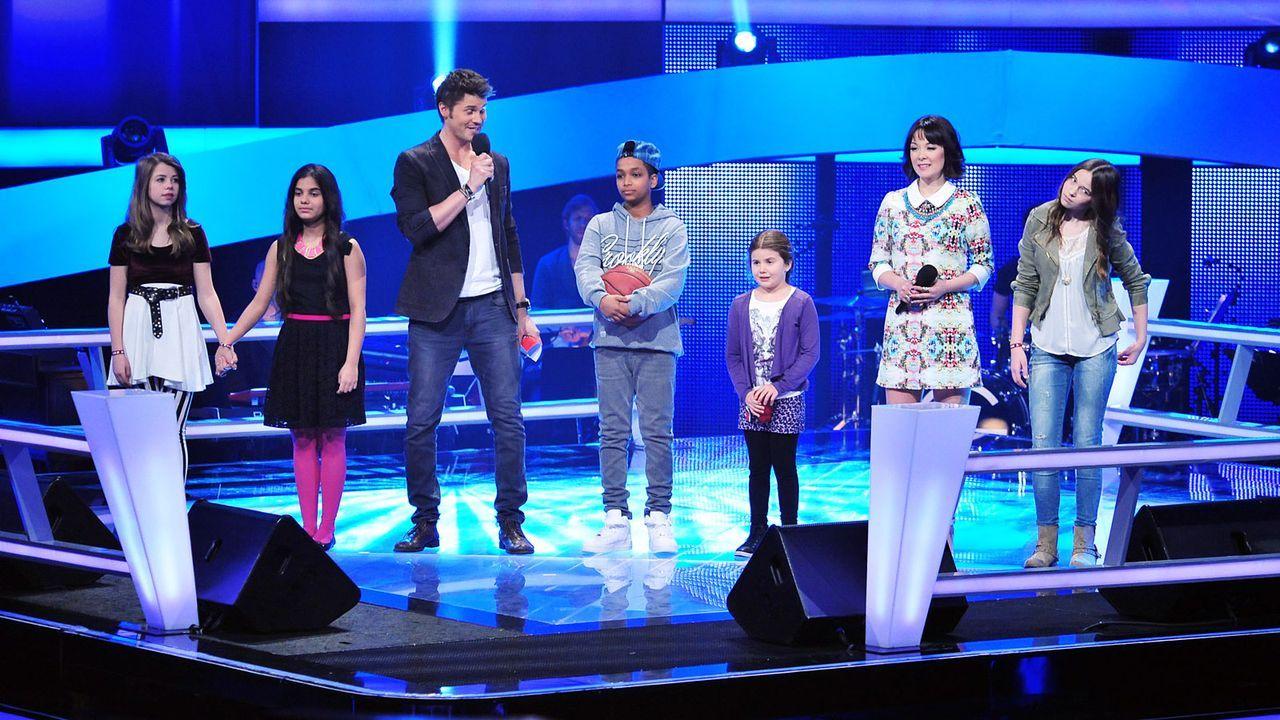 The-Voice-Kids-Stf02-Epi05-Melissa-Danyiom-Chiara-Larissa-Hanna-1-SAT1-Andre-Kowalski - Bildquelle: SAT.1/Andre Kowalski
