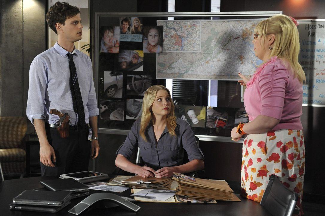 Auf Reid (Matthew Gray Gubler, l.), Garcia (Kirsten Vangsness, r.) und Ashley (Rachel Nichols, M.) wartet ein neuer grausamer Fall ... - Bildquelle: ABC Studios