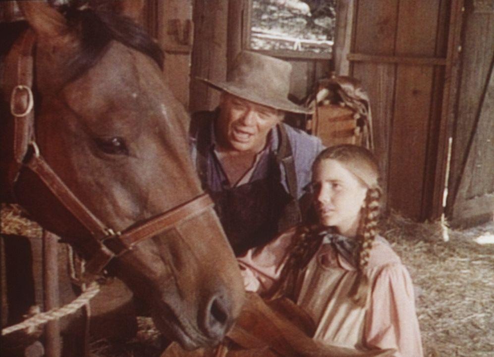 Ist das Pferd nicht zu erschöpft für den bevorstehenden Wettkampf? Mr. Dorfler (James Jeter, l.) ermuntert Laura (Melissa Gilbert, r.), am Rennen... - Bildquelle: Worldvision