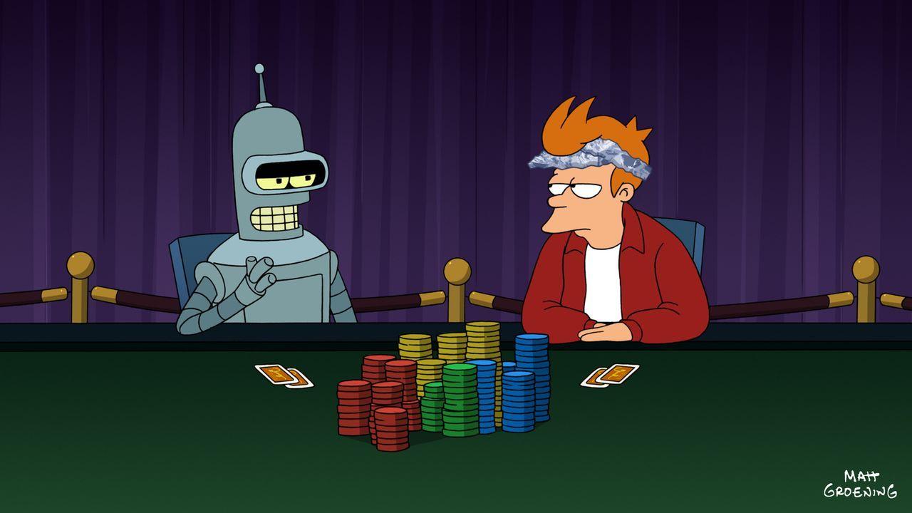 Sehr zum Leidwesen Benders (l.) kann Fry (r.) mit seiner neuen Fähigkeit das Pokerturnier dominieren ... - Bildquelle: 2009 Twentieth Century Fox Film Corporation. All rights reserved.