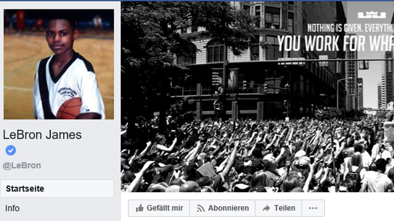 Social-Media-Popularität  - Bildquelle: Screenshot / Faceboot @LeBron James