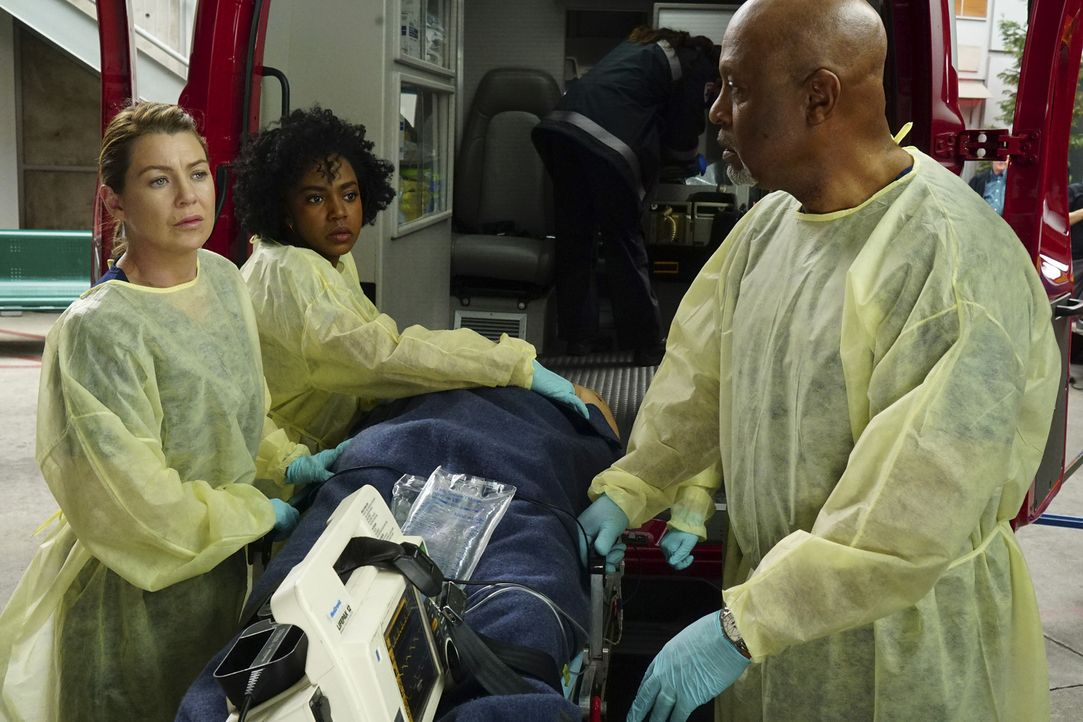 Nach einem Auffahrunfall wird eine Familie ins Krankenhaus eingeliefert. Meredith (Ellen Pompeo, l.), Webber (James Pickens Jr., r.) und Stephanie (... - Bildquelle: Richard Cartwright ABC Studios