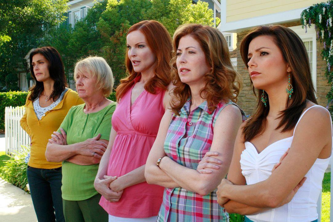 Bob und Lee stellen einen Brunnen in ihrem Vorgarten auf, der Gabrielle (Eva Longoria, r.), Katherine (Dana Delany, 2.v.r.), Bree (Marica Cross, M.)... - Bildquelle: ABC Studios
