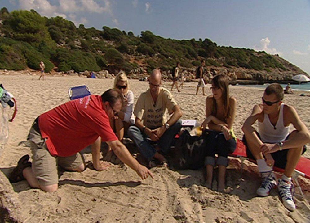 Theorieunterricht am Strand: Michael P. (l.) und seine Fahrschüler ... - Bildquelle: SAT.1
