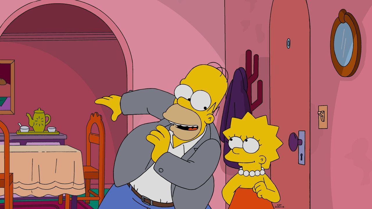 Bei einem Pokerabend verliert Homer (l.) 5.000 Dollar an Laney Fontaine, eine alte Broadway-Größe, die jetzt mit Moe zusammen ist. Um seine Wettschu... - Bildquelle: 2015 Fox and its related entities.  All rights reserved.