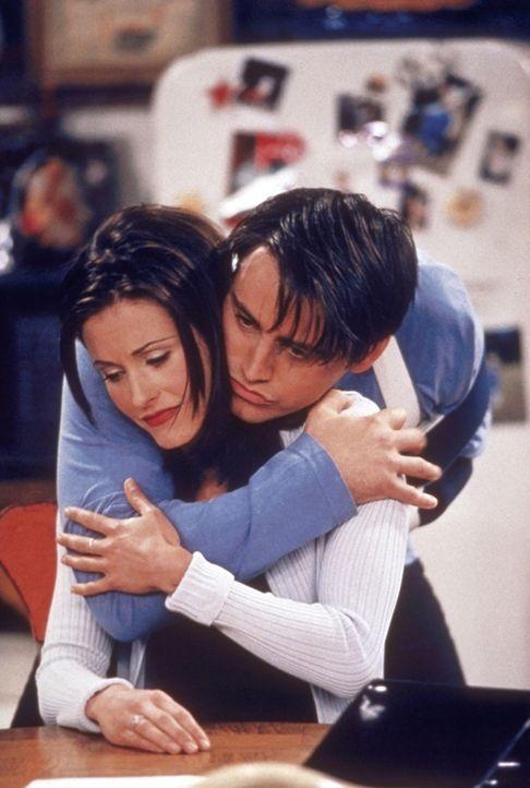 Monica (Courteney Cox, vorne) versucht mit allen Mitteln, nicht ständig an Richard denken zu müssen. Joey (Matt LeBlanc) gibt sich alle Mühe, sie... - Bildquelle: TM+  2000 WARNER BROS.