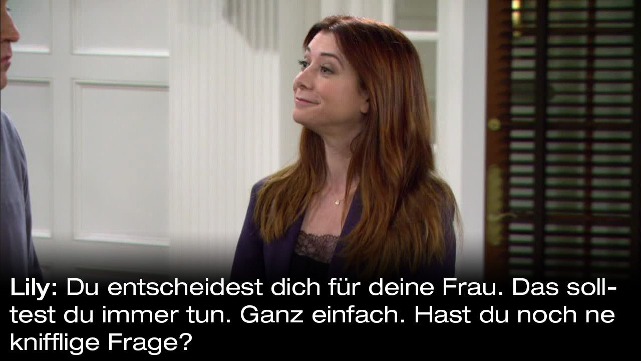 How-I-Met-Your-Mother-Zitate-Staffel-9-24-Lily-knifflige-Frage - Bildquelle: 20th Century Fox Film Corporation all rights reserved.