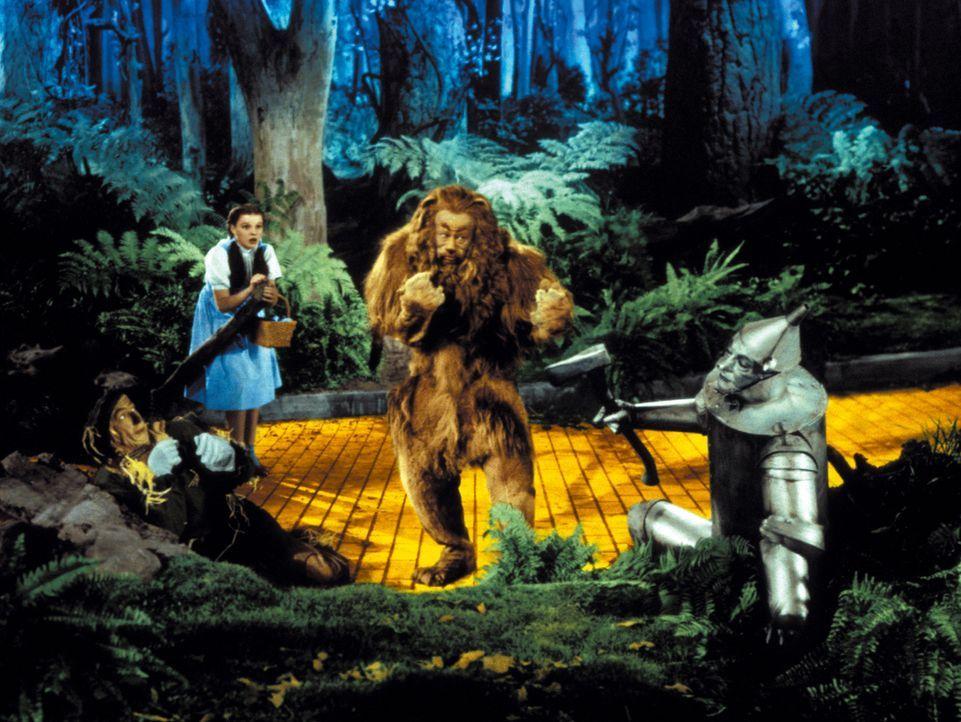 Auf ihrer Reise zum Zauberer passieren den vier Freunden (v.l.n.r.: Ray Bolger, Judy Garland, Bert Lahr, Jack Haley) einige ungewöhnliche Dinge ... - Bildquelle: Warner Bros.