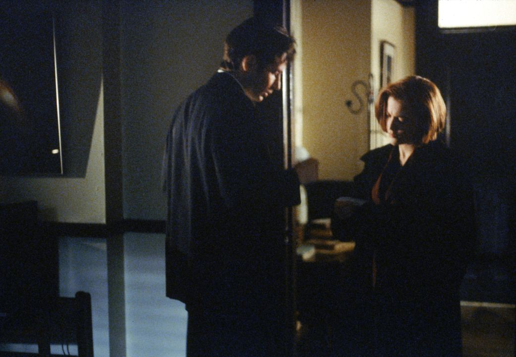 Als Scully (Gillian Anderson, r.) unter Hypnose berichtet, dass am Flammeninferno am Staudamm angeblich augenlose Aliens verantwortlich waren und Ca... - Bildquelle: 1997 Twentieth Century Fox Film Corporation. All rights reserved.