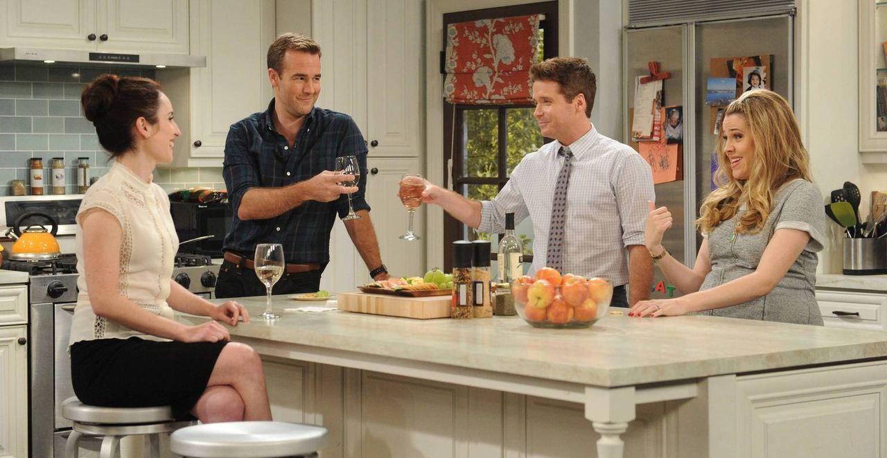 Während Kate (Zoe Lister Jones, l.) hofft, dass ihr neues Date ein ganz miserabler Vater ist, können Will (James Van Der Beek, 2.v.l.), Bobby (Kevin... - Bildquelle: 2013 CBS Broadcasting, Inc. All Rights Reserved.