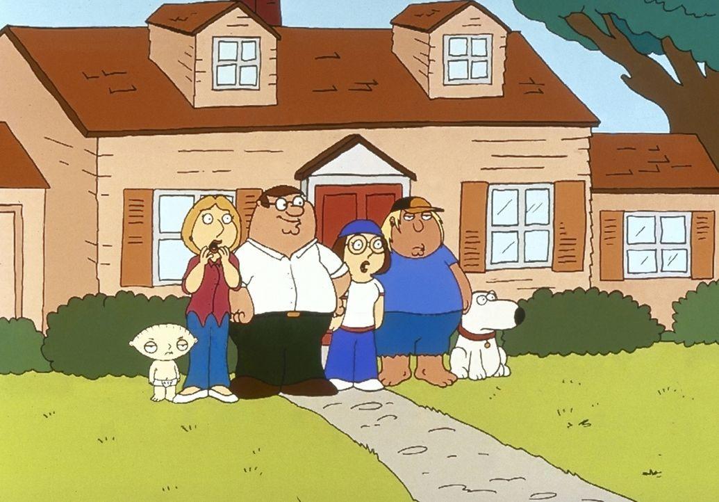 """(1. Staffel) - Die Griffins sind eine nach außen hin """"völlig normale"""" Familie: (v.l.n.r.) Stewie, Lois, Peter, Meg, Chris und Brian. - Bildquelle: TM +   2000 Twentieth Century Fox Film Corporation. All Rights Reserved."""