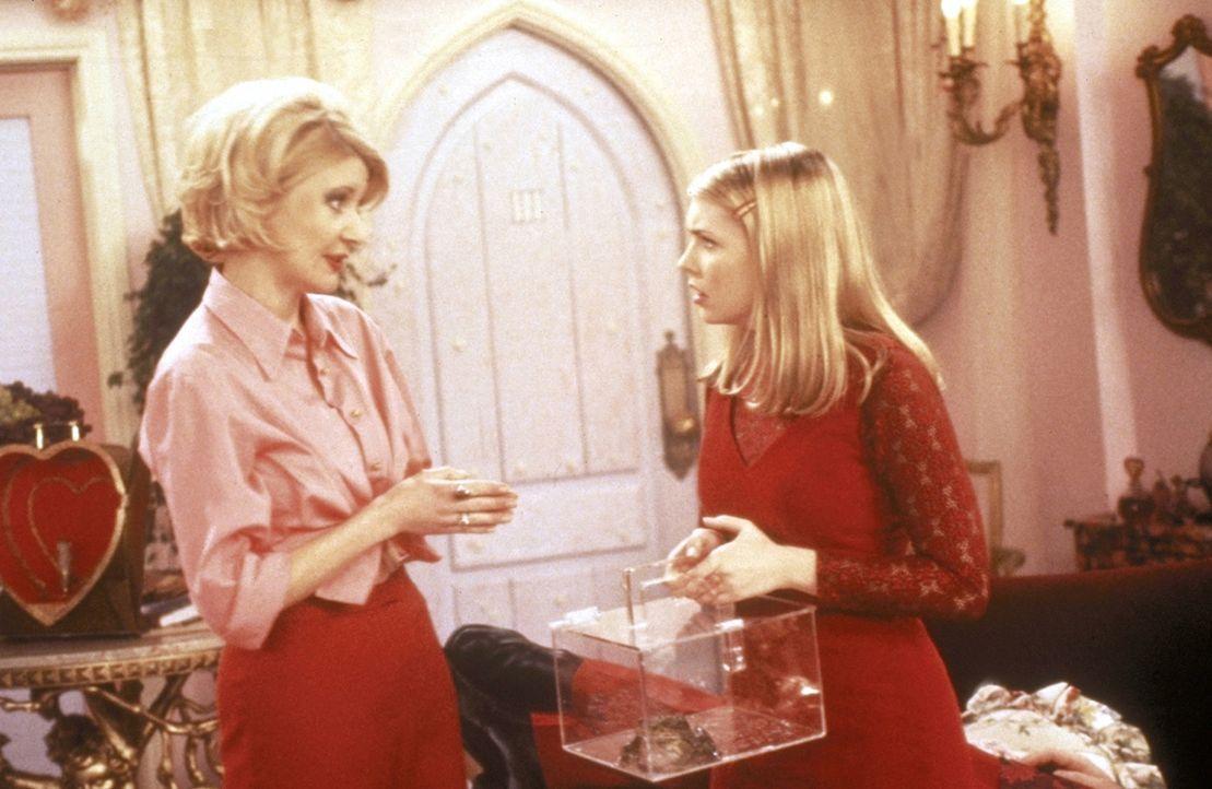 Tante Zelda (Beth Broderick, l.) eröffnet Sabrina (Melissa Joan Hart, r.), dass sie Harvey nicht küssen darf, weil er sich sonst in einen Frosch v... - Bildquelle: Paramount Pictures