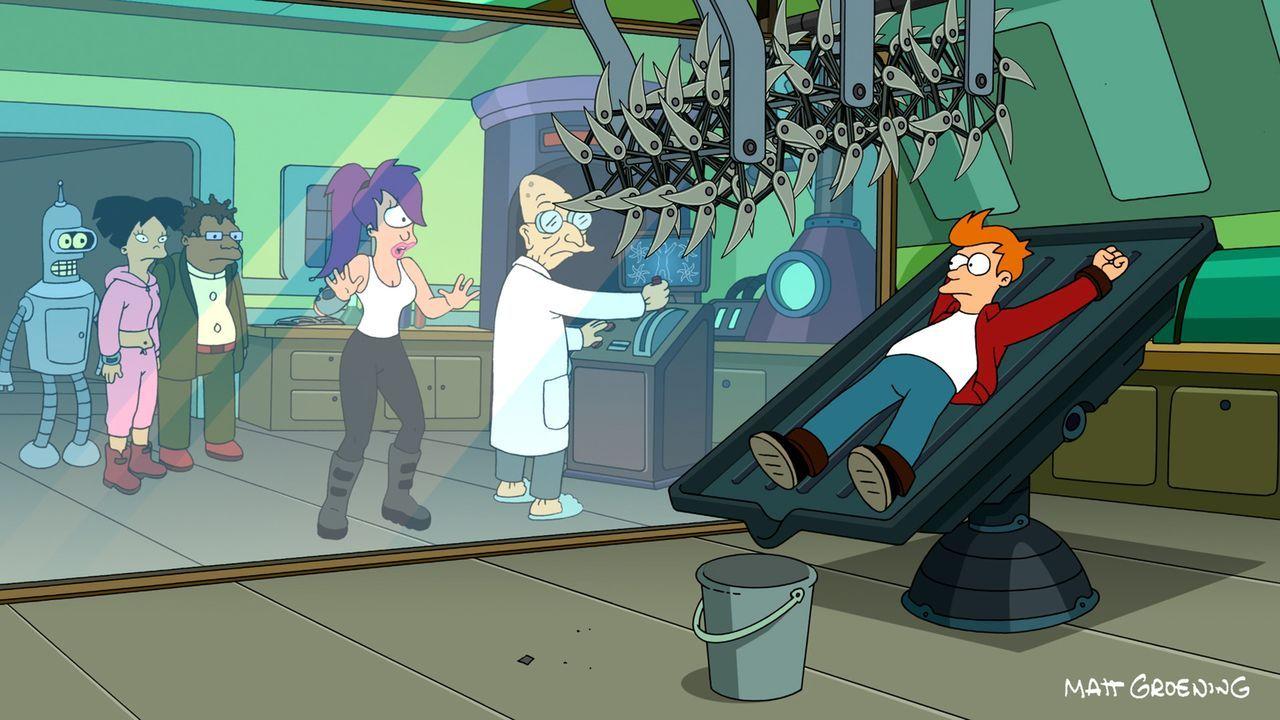 Eine kleine Erkältung hat noch keinem geschadet, denkt sich Fry (r.). Bender (l.), Amy (2.v.l.), Hermes (3.v.l.), Leela (3.v.r.) und der Professor (... - Bildquelle: 2011 Twentieth Century Fox Film Corporation. All rights reserved.