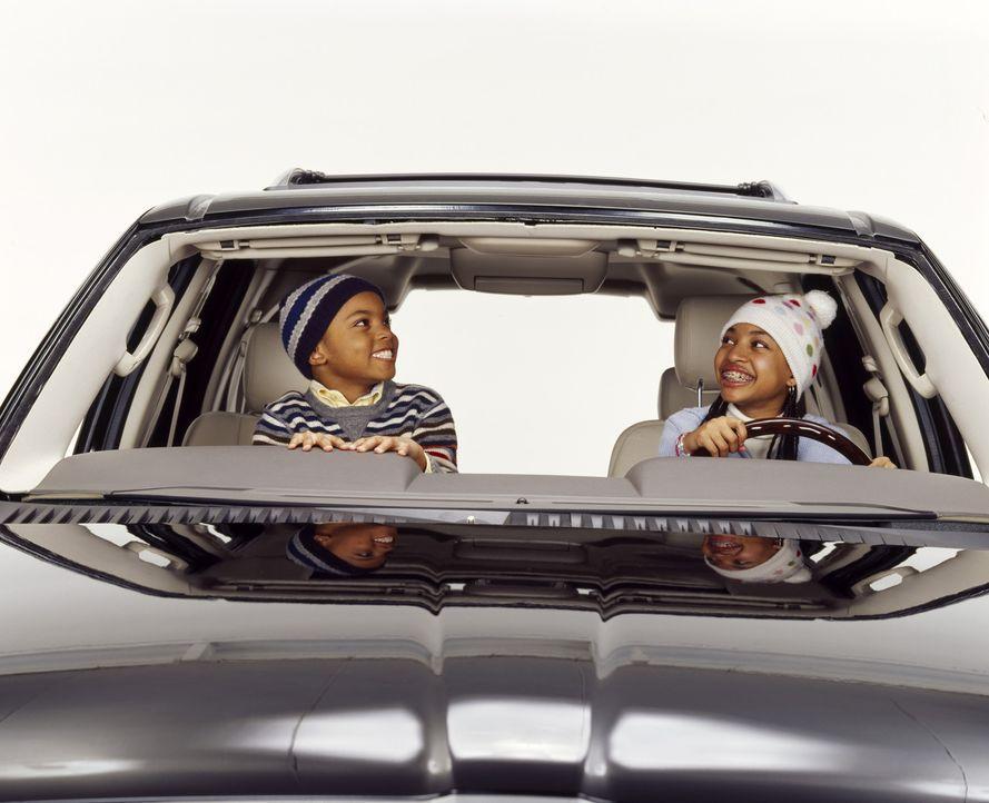 Um bei Suzanne zu landen, bringt Kinderhasser Nick ihre Kinder (v.l.n.r. Philip Bolden, Aleisha Allen) mit seinem neuen Wagen in das etwa 300 Meilen... - Bildquelle: Sony 2007 CPT Holdings, Inc.  All Rights Reserved.