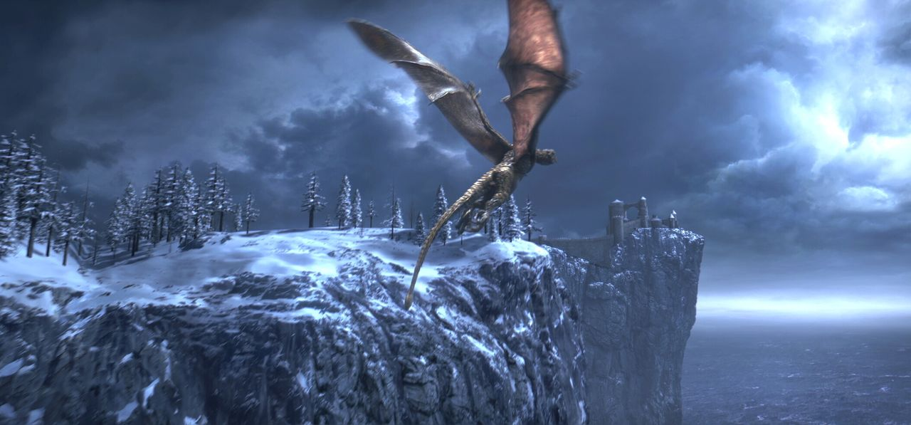Kaum steigt Beowulf zum König der Geatas und der Dänen auf, da muss er sich einem Furcht erregenden Drachen stellen, der sich als sein eigener Sohn... - Bildquelle: 2007 Warner Brothers International Television Distribution Inc.