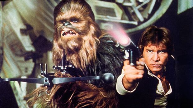 Chewbacca neben Han Solo in Star Wars