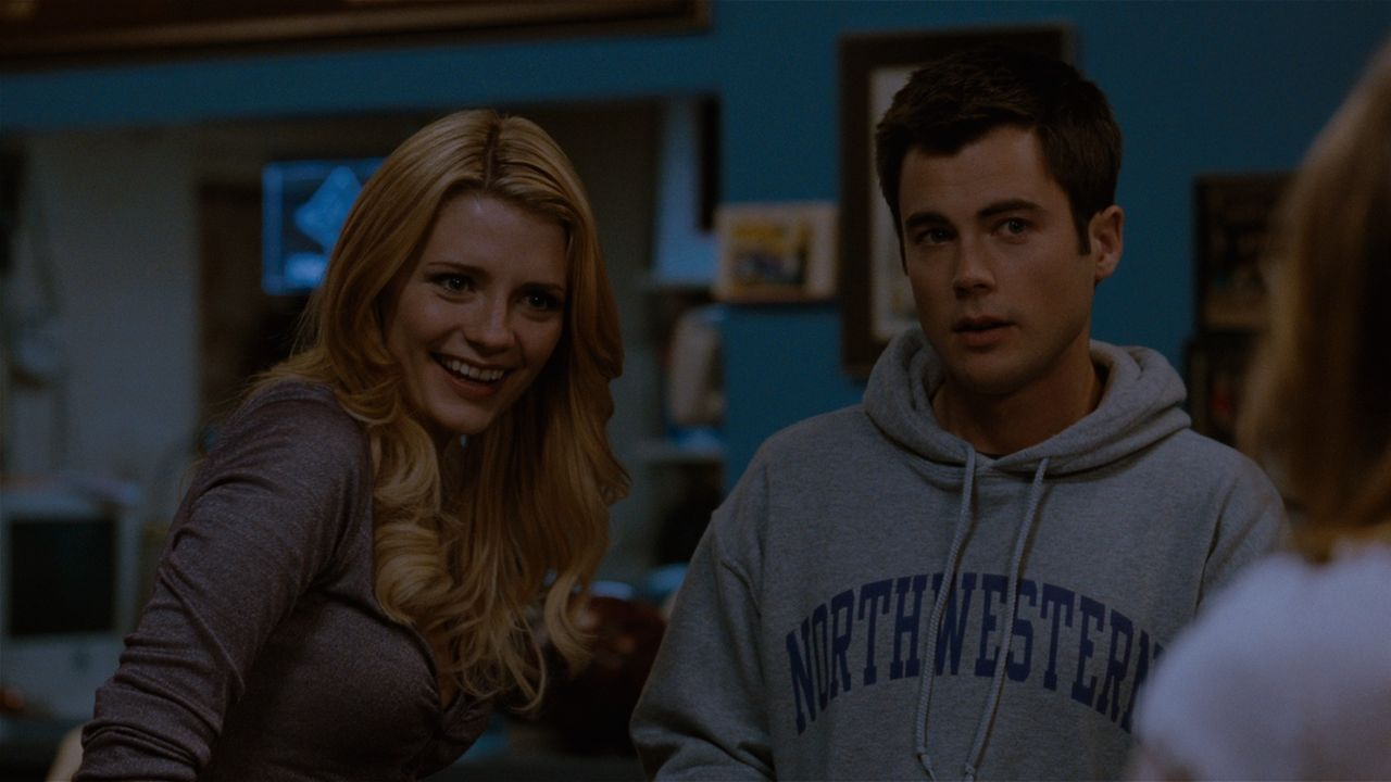 Mike Donaldson (Matt Long, r.) findet es etwas befremdlich, dass seine Ex-Freundin Shelby (Mischa Barton, r.) so freundlich zu seiner neuen Freundin... - Bildquelle: 2008 Homecoming The Movie LLC. All rights reserved