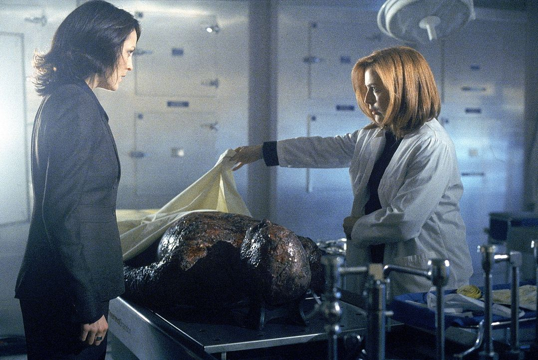 Reyes (Annabeth Gish, l.) und Scully (Gillian Anderson, r.) untersuchen eine Leiche, die angeblich Knowle Rohrer sein soll. - Bildquelle: TM +   Twentieth Century Fox Film Corporation. All Rights Reserved.