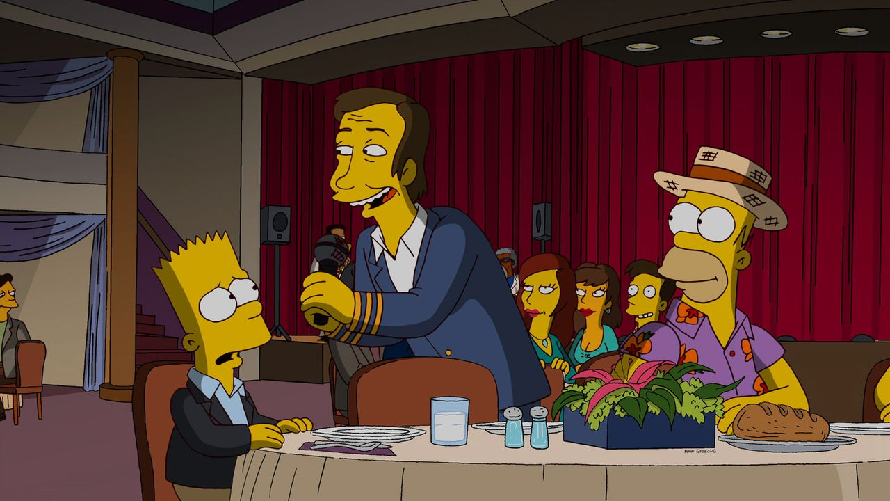 Bart (l.) und Homer (r.) genießen ihren Kreuzfahrt-Urlaub in vollen Zügen und lassen sich von Direktor Rowan (M.) gerne unterhalten ... - Bildquelle: und TM Twentieth Century Fox Film Corporation - Alle Rechte vorbehalten