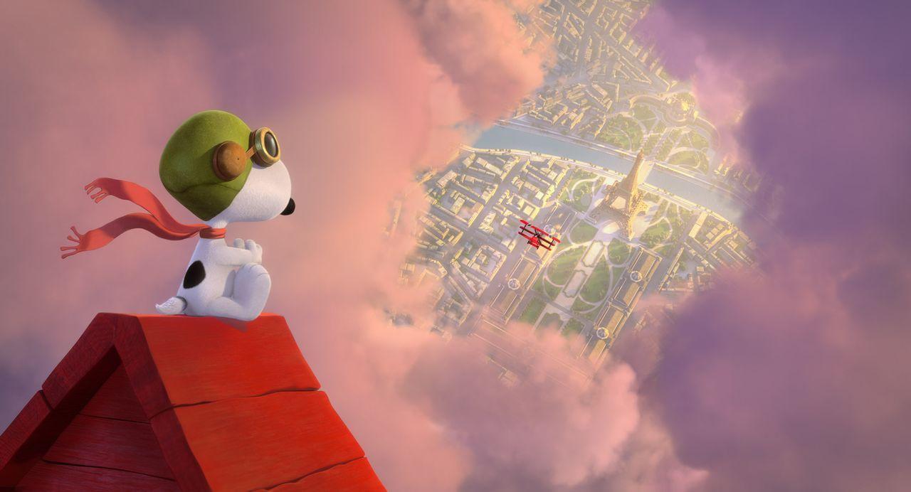 In seiner Fantasie nimmt Snoopy als Fliegerass die Verfolgung seines Erzfeindes über den Dächern von Paris auf. Und nebenbei muss er noch die schöne... - Bildquelle: 2015 Twentieth Century Fox Film Corporation.  All rights reserved.  PEANUTS   2015 Peanuts Worldwide LLC.
