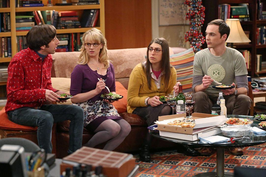 Erleben einen ganz besonderen Valentinstag: Sheldon (Jim Parsons, r.), Amy (Mayim Bialik, 2.v.r.), Howard (Simon Helberg, l.) und Bernadette (Meliss... - Bildquelle: Warner Brothers