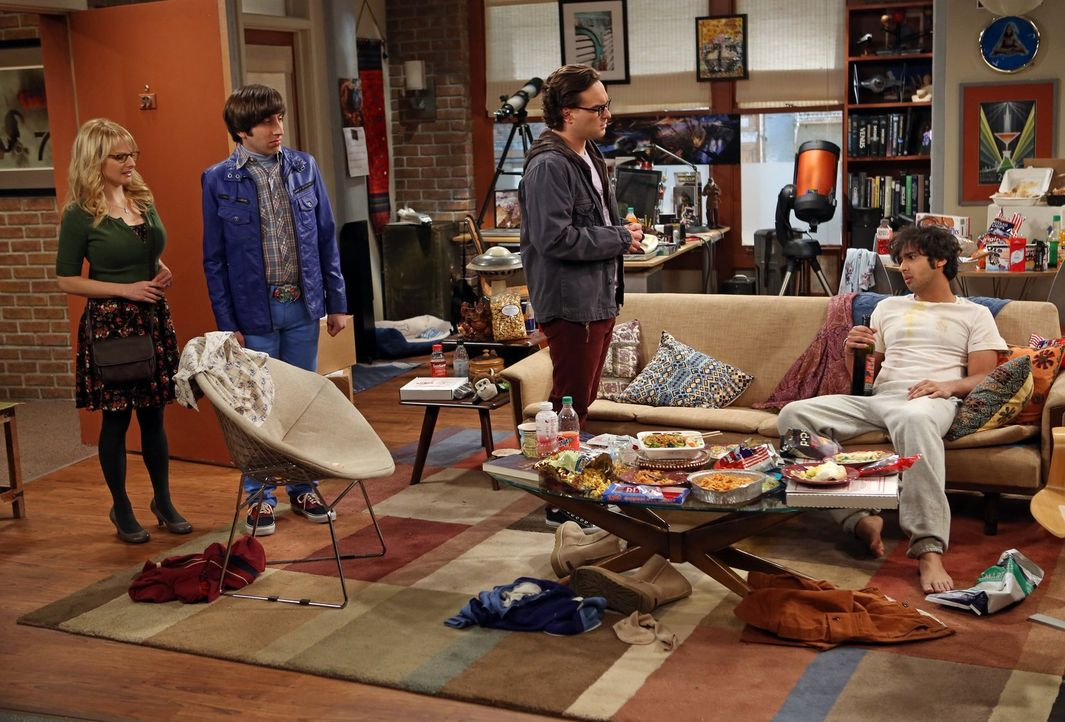 Nach einem furchtbaren Date ist Raj (Kunal Nayyar, r.) am Boden zerstört und will sein Apartment nie wieder verlassen. Das können Bernadette (Meliss... - Bildquelle: Warner Bros. Television