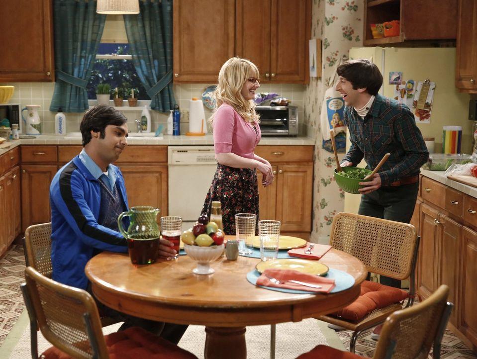 Reden kann man leicht: Raj (Kunal Nayyar, l.) macht Bernadette (Melissa Rauch, M.) und Howard (Simon Helberg, r.) klar, dass sie selbst auch nichts... - Bildquelle: Warner Bros. Television