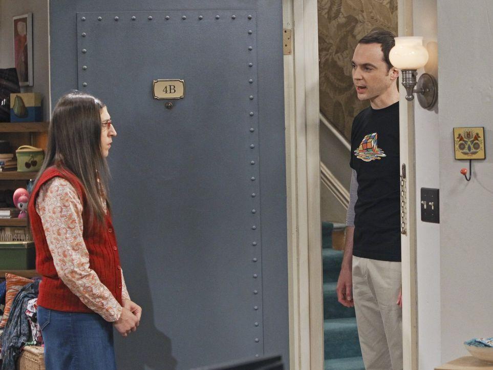 Als Amy (Mayim Bialik, l.) ein wissenschaftliches Projekt an Sheldons (Jim Parsons, r.) Universität betreut, geraten die beiden in einen handfesten... - Bildquelle: Warner Bros. Television