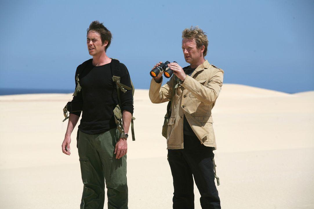 Nehmen den Kampf gegen die Urzeitmonster auf: Cutter (Douglas Henshall, r.) und Stephen (James Murray, l.) ... - Bildquelle: ITV Plc