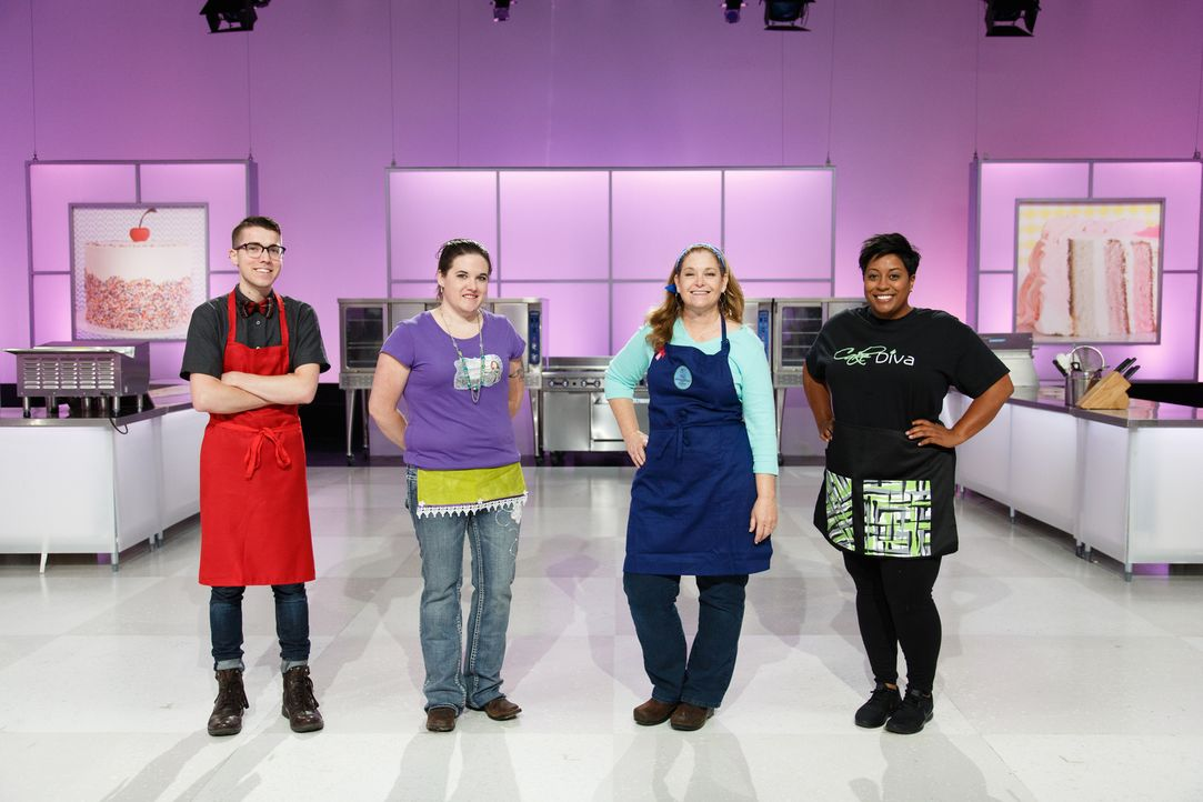 (v.l.n.r.) Daniel Colonel; Gillian Marriott; Monika Stout; Porsha Kimble - Bildquelle: Emile Wamsteker 2016, Television Food Network, G.P. All Rights Reserved./Emile Wamsteker