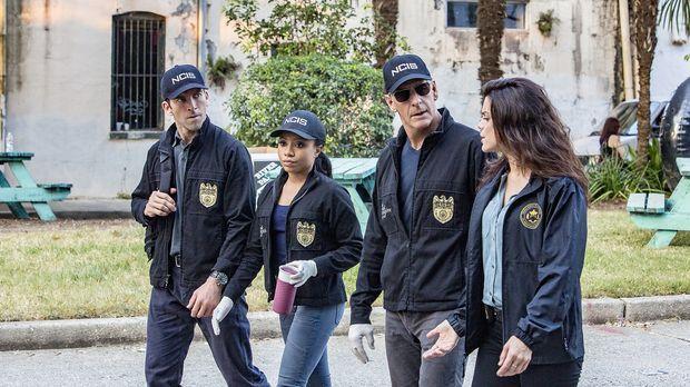 Das NCIS-Team LaSalle (Lucas Black, l.), Percy (Shalita Grand, 2.v.l.), Pride...