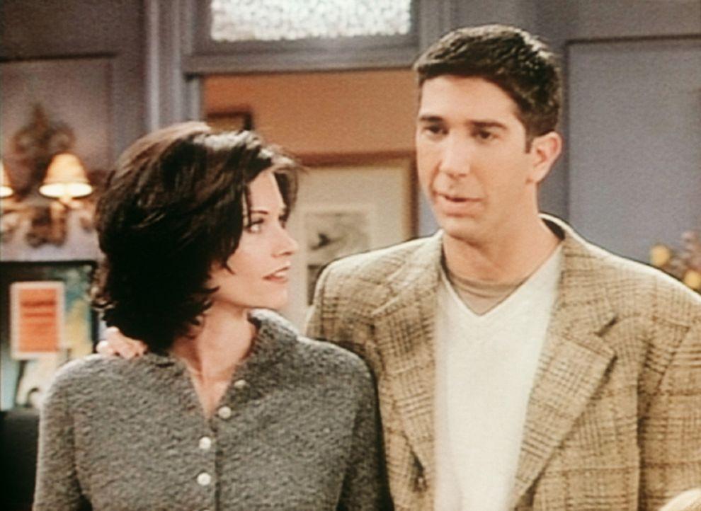 Monica (Courteney Cox, l.) und Ross (David Schwimmer, r.) sind unsicher: Ist Fun Bobby nun Alkoholiker oder nicht? - Bildquelle: TM+  2000 WARNER BROS.