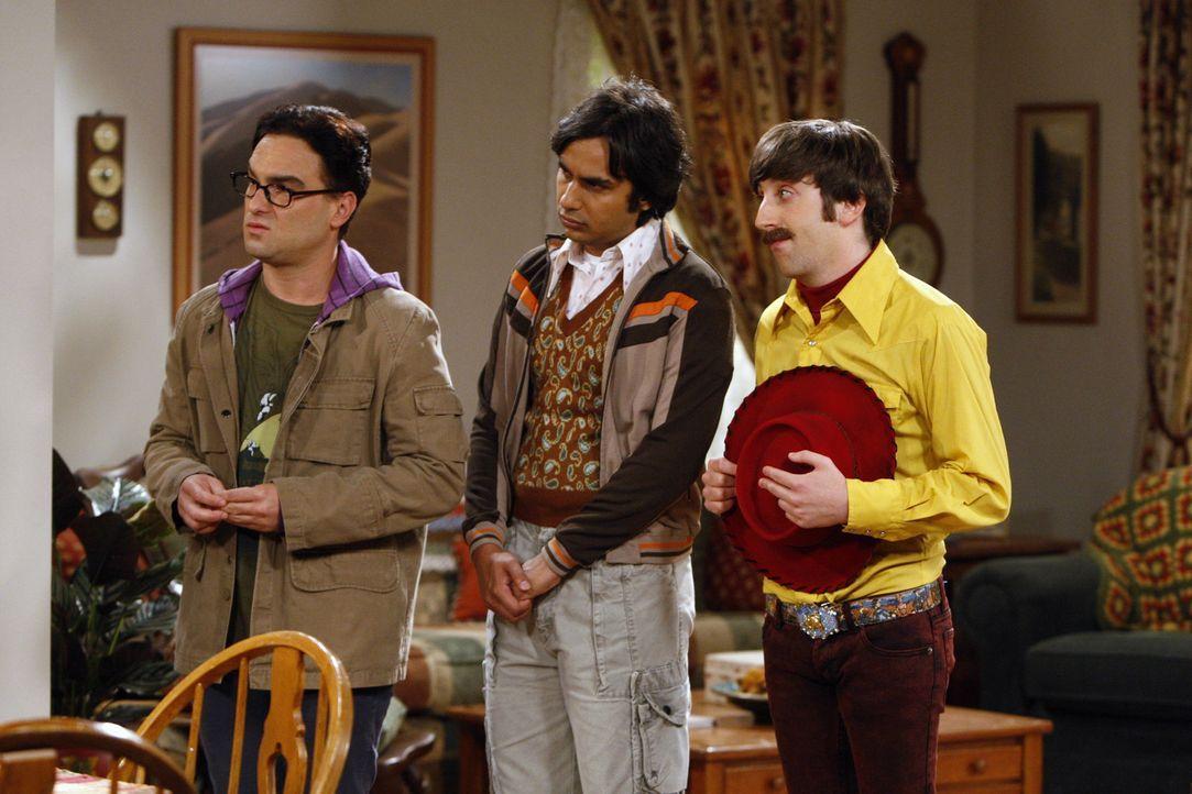 Als Sheldon seinen wissenschaftlichen Erfolg feiern will, gestehen ihm Leonard (Johnny Galecki, l.), Howard (Simon Helberg, r.) und Raj (Kunal Nayya... - Bildquelle: Warner Bros. Television