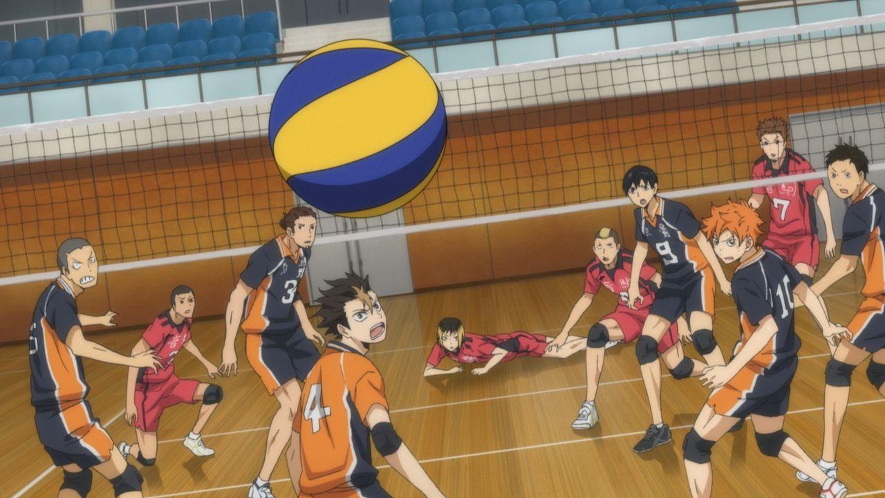 (v.l.n.r.) Tanaka; Kai; Asahi; Nishinoya; Kozume; Yamamoto; Kageyama; Hinata; Inuoka; Daichi - Bildquelle: H. Furudate / Shueisha, HAIKYU!! Project, MBS