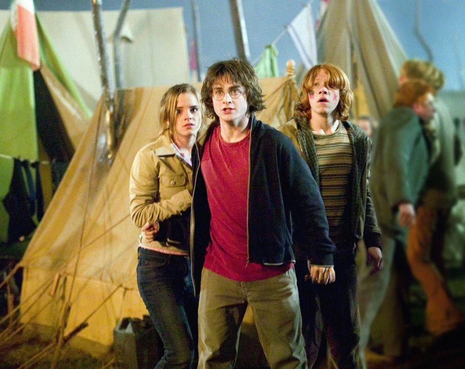 Harry Potters (Daniel Radcliffe, M.) viertes Schuljahr in Hogwarts steht kurz bevor und so kostet er zusammen mit seinen Freunden Ron (Rupert Grint,... - Bildquelle: 2005 Warner Bros. Ent. Harry Potter Publishing Rights. J.K.R.