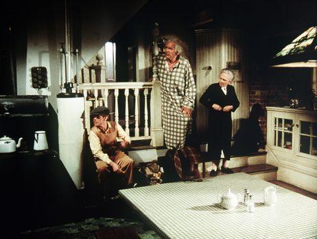 Die Waltons - Sam (Will Geer, M.) und Ester (Ellen Corby, r.) machen sich Sor...