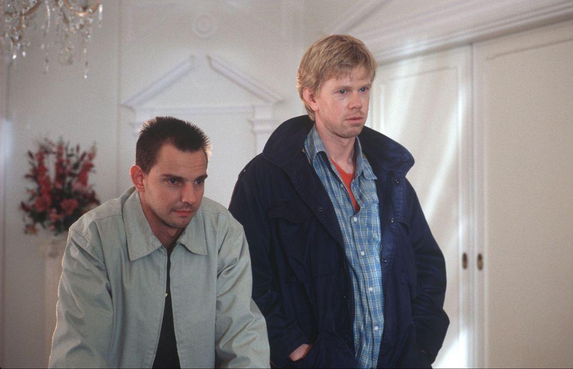 Tom Borkmann (Steven Merting, l.) und der Polizist Jan Kirsch (Thomas Morris, r.), dessen Schwester an einer Überdosis Heroin gestorben ist, versuch... - Bildquelle: Alfred Raschke Sat.1