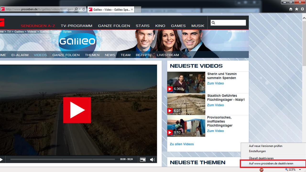 Internet Explorer: AdBlocker für bestimmte Seite deaktivieren