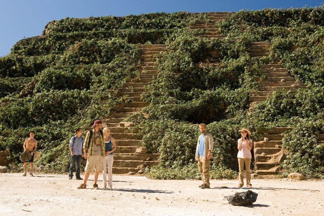 Der deutsche Urlauber Matthias (Joe Anderson, 2.v.r.) bittet die vier amerikanischen Touristen Amy (Jena Malone, r.), Stacy (Laura Ramsey, 4.v.l.),... - Bildquelle: 2008 DreamWorks LLC. All Rights Reserved.l