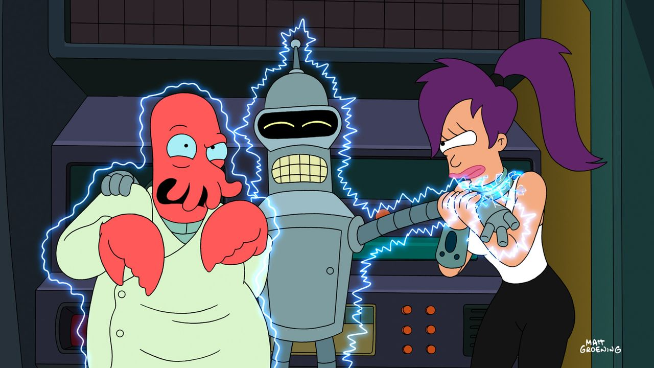 Mit der Hilfe von Bender (M.) und Zoidberg (l.) versucht Leela (r.) das Crash-Rennen gegen die Idioten zu gewinnen, die sie beleidigt haben ... - Bildquelle: 2008 Twentieth Century Fox Film Corporation. All rights reserved.