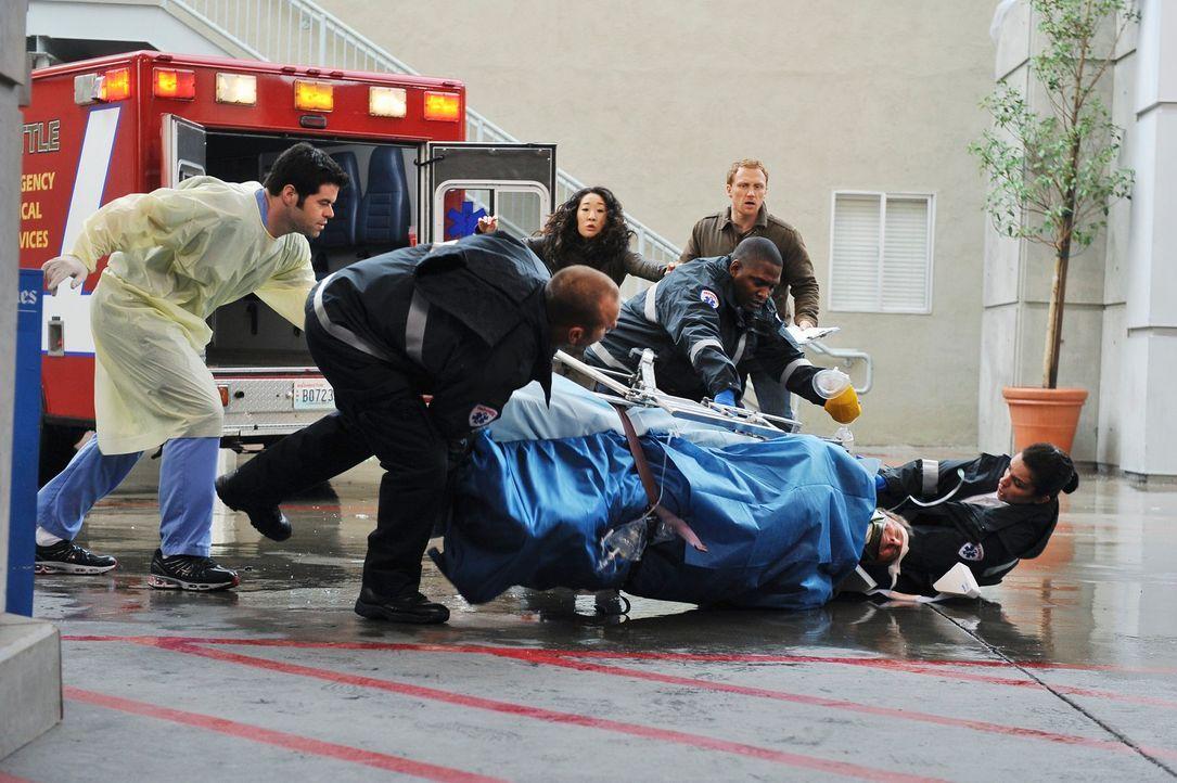 Drama in der Notaufnahme: Cristina (Sandra Oh, hinten l.) und Owen (Kevin McKidd, hinten r.) ... - Bildquelle: Touchstone Television