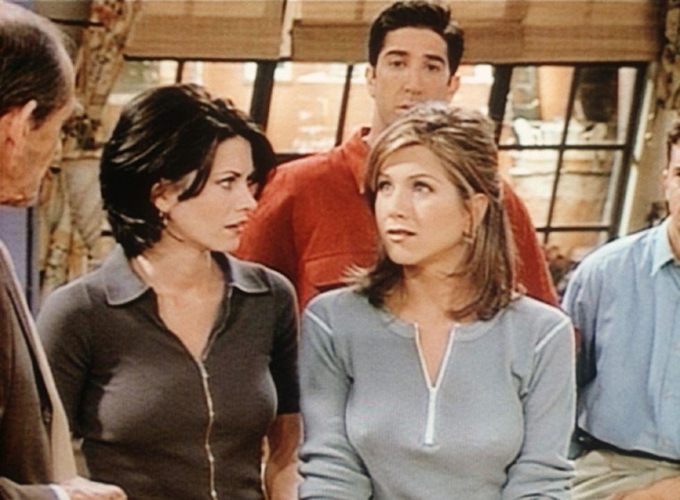 Monica (Courteney Cox, 2.v.l.), Ross (David Schwimmer, M.) und Rachel (Jennifer Aniston) haben soeben erfahren, dass der Nachbar Mr. Heckles gestorb... - Bildquelle: TM+  2000 WARNER BROS.