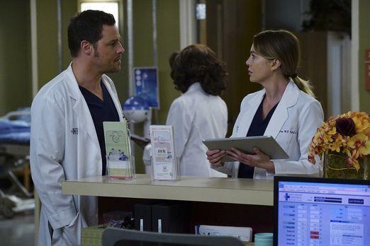 Während sich Amelia ihren Gefühlen gegenüber Owen stellt, sitzt Meredith (Ell...
