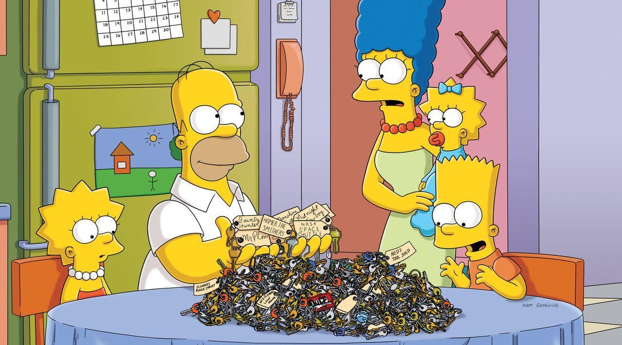 Weil Maggie sich selbst im Auto eingesperrt hat, suchen die Simpsons in ihrer Schlüsselschublade nach dem Ersatzschlüssel. Dabei entdecken sie ein... - Bildquelle: und TM Twentieth Century Fox Film Corporation - Alle Rechte vorbehalten