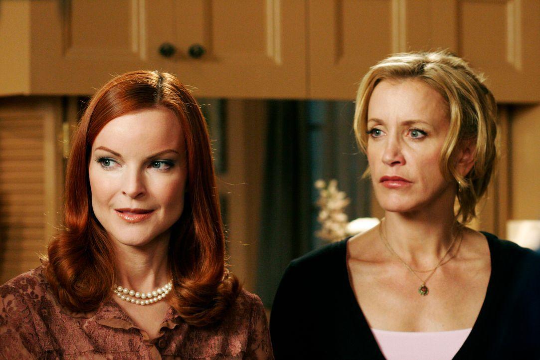 Entsetzt sehen Bree (Marcia Cross, l.) und Lynette (Felicity Huffman, r.) mit an, wie Gabrielle Tom küsst .... - Bildquelle: 2005 Touchstone Television  All Rights Reserved
